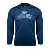 College Performance Navy Longsleeve Shirt-Baruch Arched