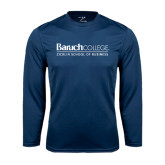 College Performance Navy Longsleeve Shirt-Zicklin School of Business