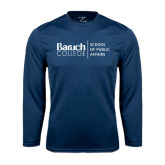 College Performance Navy Longsleeve Shirt-School of Public Affairs Stacked