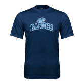 College Performance Navy Tee-Baruch Arched