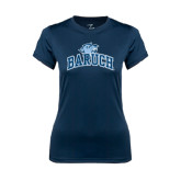 Ladies Syntrel Performance Navy Tee-Baruch Arched