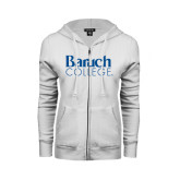 College ENZA Ladies White Fleece Full Zip Hoodie-Official Logo