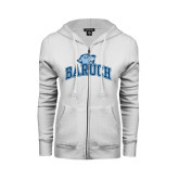 College ENZA Ladies White Fleece Full Zip Hoodie-Baruch Arched