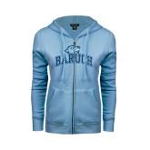 ENZA Ladies Light Blue Fleece Full Zip Hoodie-Baruch Arched