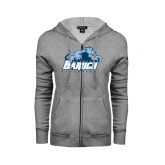 College ENZA Ladies Grey Fleece Full Zip Hoodie-Baruch Athletics