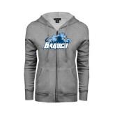 ENZA Ladies Grey Fleece Full Zip Hoodie-Baruch Athletics