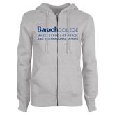 ENZA Ladies Grey Fleece Full Zip Hoodie-School of Public Affairs
