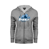College ENZA Ladies Grey Fleece Full Zip Hoodie-Soccer