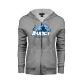 ENZA Ladies Grey Fleece Full Zip Hoodie-Volleyball