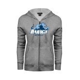 College ENZA Ladies Grey Fleece Full Zip Hoodie-Softball