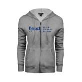 ENZA Ladies Grey Fleece Full Zip Hoodie-Zicklin School of Business