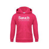 College Youth Raspberry Fleece Hoodie-Official Logo