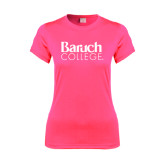College Ladies Performance Hot Pink Tee-Official Logo