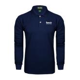 College Navy Long Sleeve Polo-Official Logo