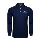 College Navy Long Sleeve Polo-Baruch Arched