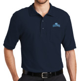 College Navy Easycare Pique Polo w/ Pocket-Baruch Arched