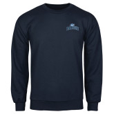 College Navy Fleece Crew-Baruch Arched