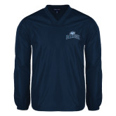 V Neck Navy Raglan Windshirt-Baruch Arched