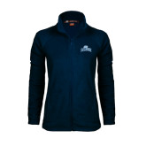 Ladies Fleece Full Zip Navy Jacket-Baruch Arched