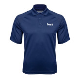 College Navy Textured Saddle Shoulder Polo-Official Logo