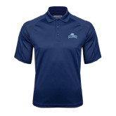 College Navy Textured Saddle Shoulder Polo-Baruch Arched