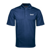 College Navy Mini Stripe Polo-Official Logo