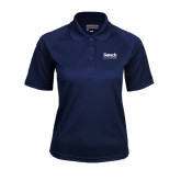 College Ladies Navy Textured Saddle Shoulder Polo-Official Logo