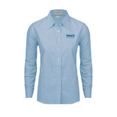 Ladies Light Blue Oxford Shirt-Official Logo