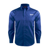 College Red House French Blue Long Sleeve Shirt-Official Logo