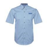 Light Blue Twill Button Down Short Sleeve-Official Logo
