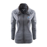 Ladies Sport Wick Stretch Full Zip Charcoal Jacket-Baruch Arched