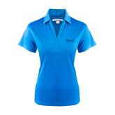 College Ladies Light Blue Performance Fine Jacquard Polo-Official Logo