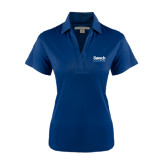 College Ladies Navy Performance Fine Jacquard Polo-Official Logo