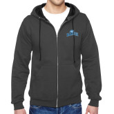 College Charcoal Fleece Full Zip Hoodie-Baruch Arched