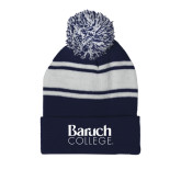 College Navy/White Two Tone Knit Pom Beanie w/Cuff-Official Logo