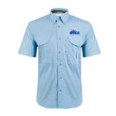 Light Blue Short Sleeve Performance Fishing Shirt-Official Logo
