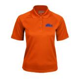 Ladies Orange Textured Saddle Shoulder Polo-Official Logo