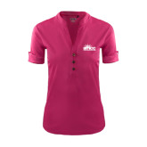 Ladies Ogio Deep Berry Fashion Henley-Official Logo