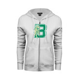ENZA Ladies White Fleece Full Zip Hoodie-Bronoc