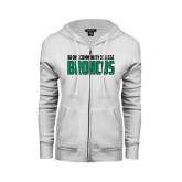 ENZA Ladies White Fleece Full Zip Hoodie-Bronx Community College Bronocs