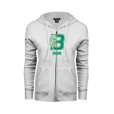 ENZA Ladies White Fleece Full Zip Hoodie-Mom