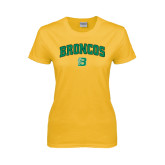 Ladies Gold T Shirt-Arched Broncos