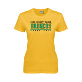 Ladies Gold T Shirt-Stacked Basketball Design