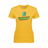 Ladies Gold T Shirt-Volleyball Design