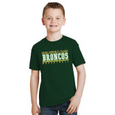 Youth Dark Green T Shirt-Stacked Basketball Design
