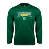 Performance Dark Green Longsleeve Shirt-Cross Bats Design