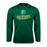 Performance Dark Green Longsleeve Shirt-Volleyball Design