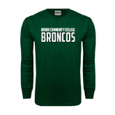 Dark Green Long Sleeve T Shirt-Bronx Community College Bronocs