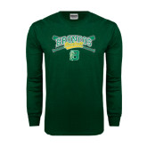 Dark Green Long Sleeve T Shirt-Cross Bats Design