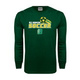Dark Green Long Sleeve T Shirt-Soccer Swoosh